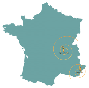 Mapa de Francia con nuestras zonas de recogida de neumáticos usados